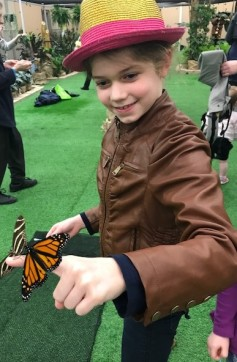 Writer Orlaith A. Dill holding a butterfly at the Philadelphia Flower Show 2018.
